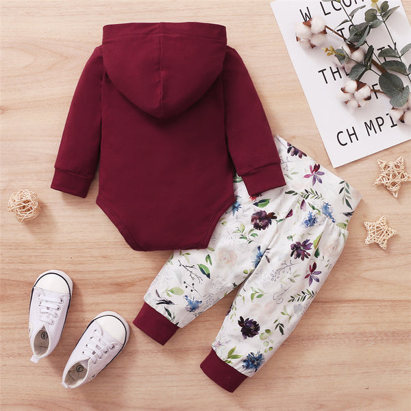 Baby Hooded Long Sleeve Hooded Floral Romper & Trousers Baby Clothes Wholesale Suppliers