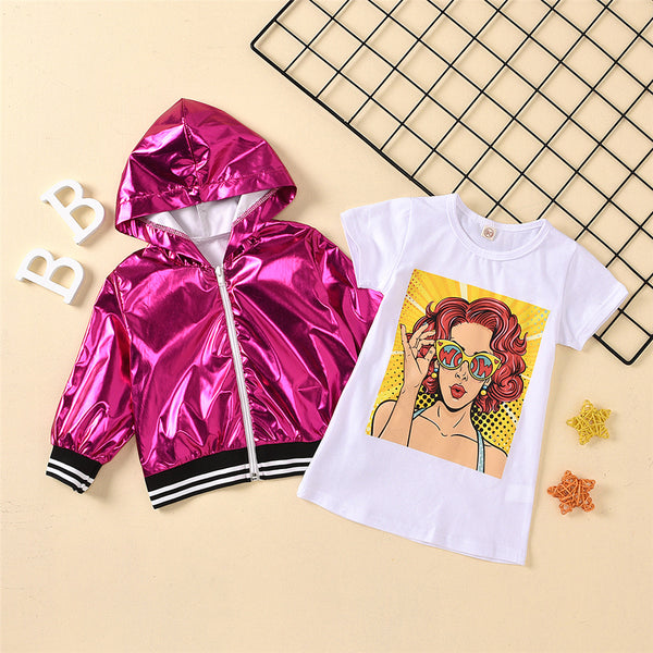 Girls Hooded Long Sleeve Jacket & Short Sleeve Top Baby Girl Wholesale