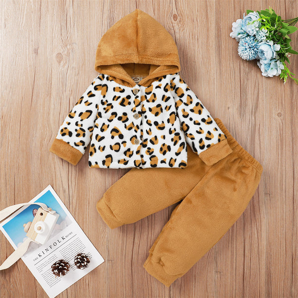 Baby Girls Hooded Long Sleeve Leopard Button Jacket & Pants Baby Clothes Wholesale Bulk