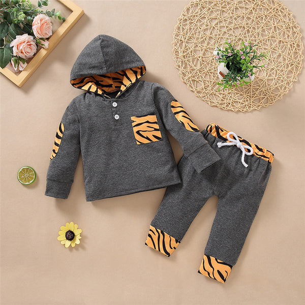 Baby Hooded Long Sleeve Leopard Printed Top & Pants Wholesale Baby Clothes Suppliers