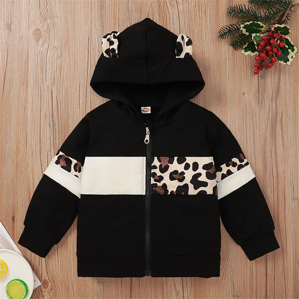 Girls Hooded Long Sleeve Leopard Zipper Jacket Girls Clothing Wholesale