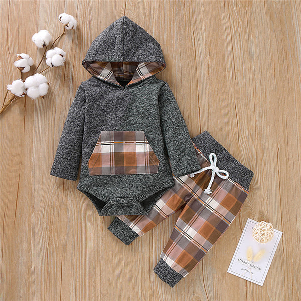 Baby Boys Hooded Long Sleeve Plaid 2-Piece Baby Clothes Cheap Wholesale