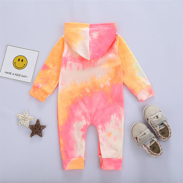 Baby Unisex Hooded Long Sleeve Tie Dye Romper Baby Clothing Wholesale