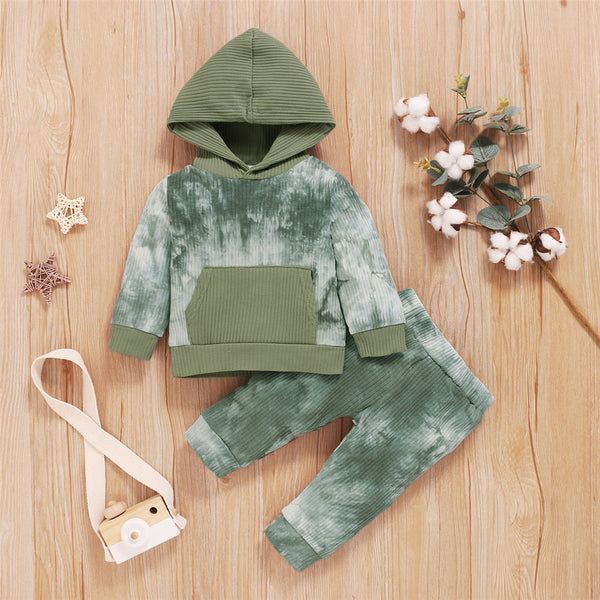 Baby Unisex Hooded Long Sleeve Tie Dye Top & Pants Baby Clothing Cheap Wholesale