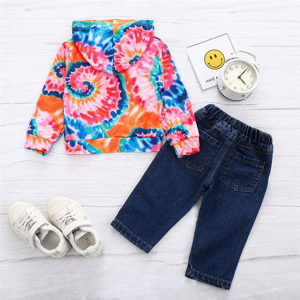 Girls Hooded Long Sleeve Tie Dye Top & Patch Jeans Girls Wholesale