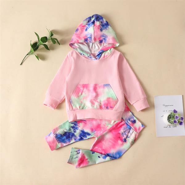 Girls Hooded Long Sleeve Tie Dye Tops & Pants