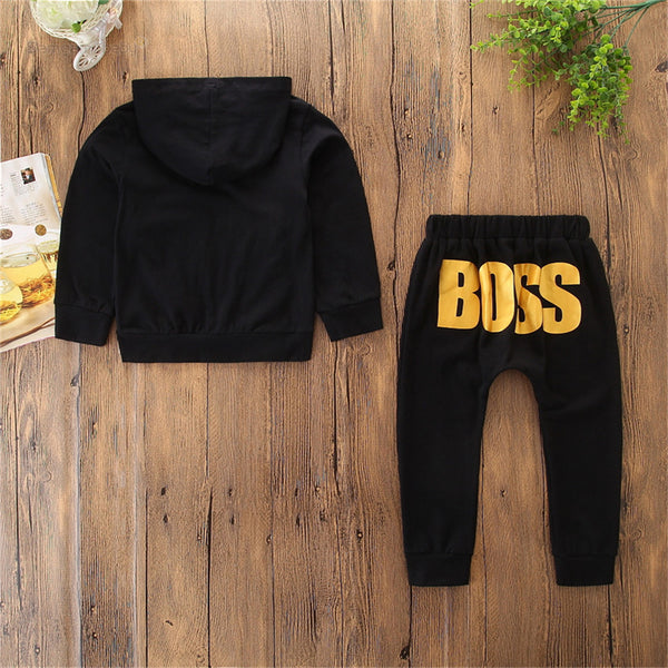 Boys Hooded Mini Boss Long Sleeve Top & Pants Kids Wholesale Clothing