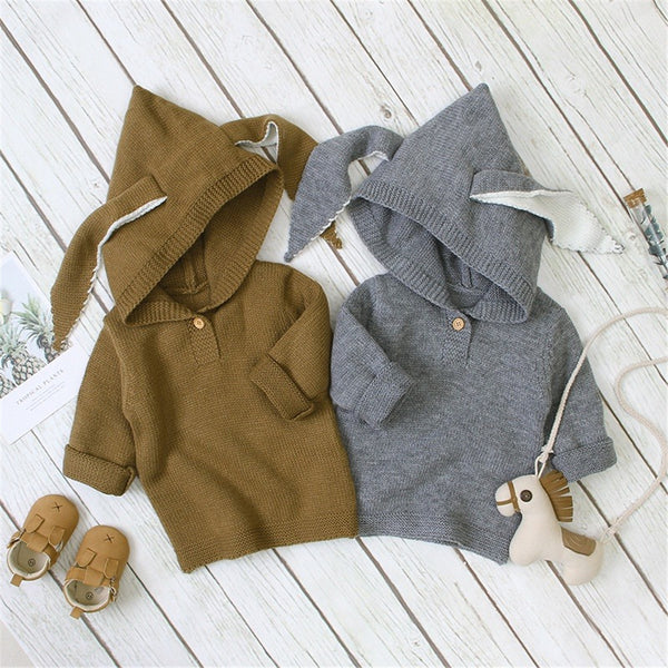 Baby Hooded Solid Long Sleeve Rabbit Ear Sweaters