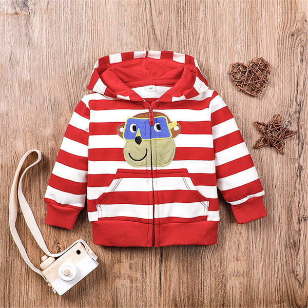 Baby Boys Hooded Striped Cartoon Zipper Jacket Baby Wholesale Clothing