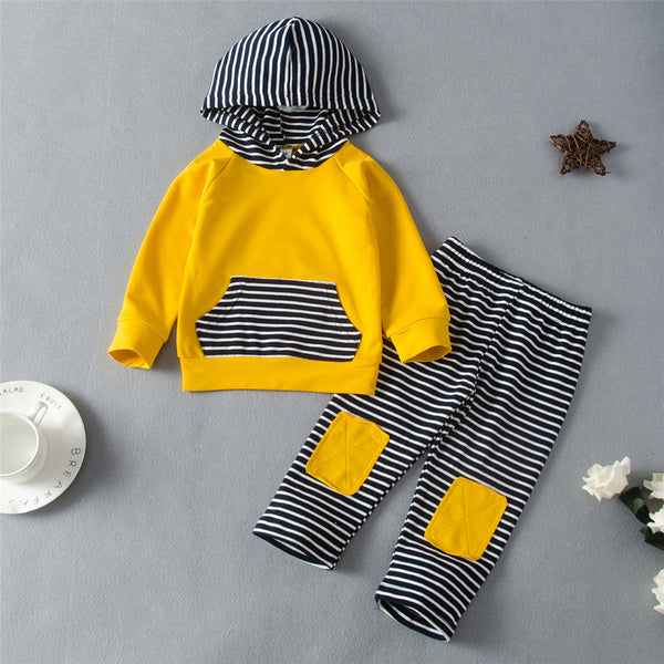 Baby Boys Hooded Striped Long Sleeve Top & Pants Baby Clothes Warehouse