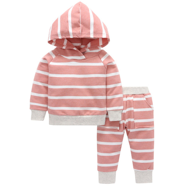 Baby Girls Hooded Striped Long Sleeve Top & Pants Wholesale Baby