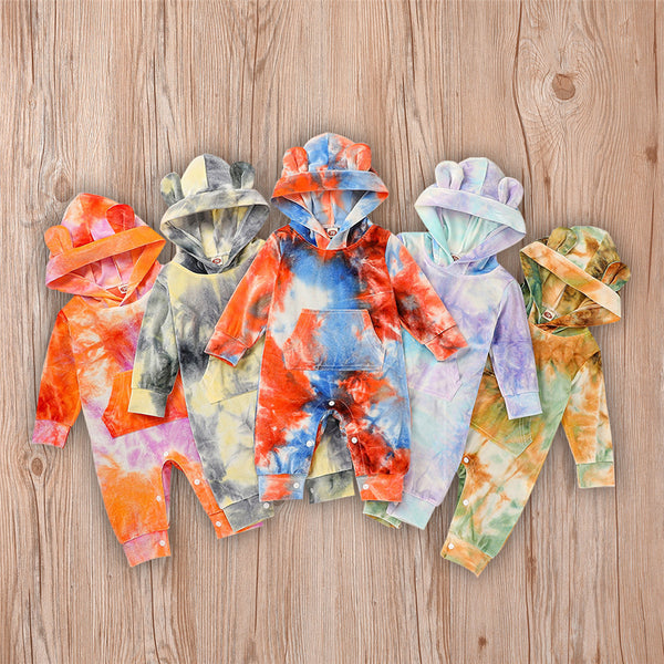 Baby Unisex Hooded Tie Dye Cute Romper Baby Outfits