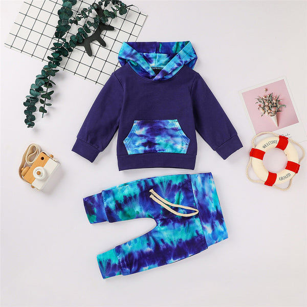 Boys Hooded Tie Dye Long Sleeve Tops & Pants