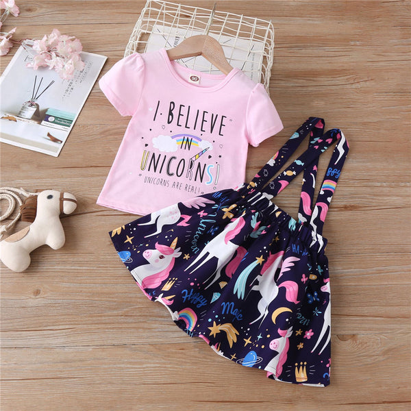 Girls I Believe In Unicorn Printed Short Sleeve Top & Cartoon Suspender Skirt Wholesale Girl Clothing