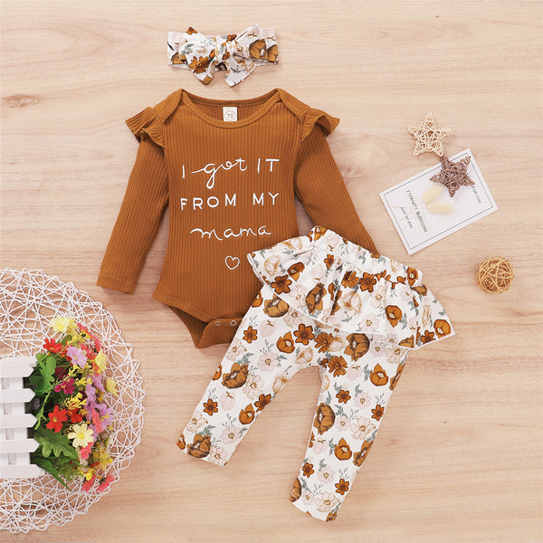 Baby Girl I Got It From My Mama Long Sleeve Romper & Floral Pants & Headband Baby Clothing Cheap Wholesale