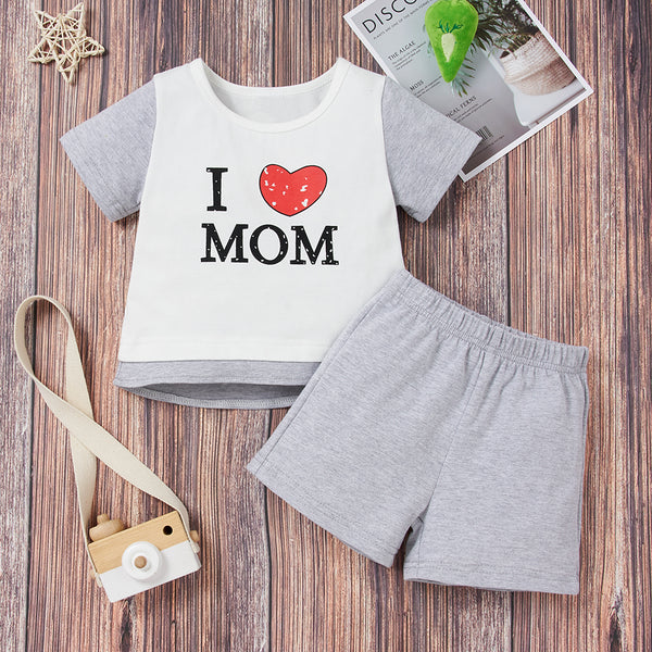 Baby Unisex I Love Mom And Dad Short Sleeve Top & Shorts bulk baby clothes