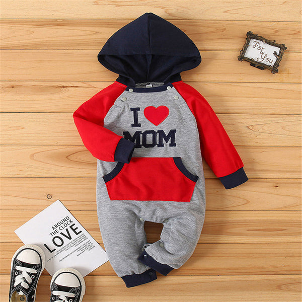Baby I Love Mom Hooded Long-sleeve Romper Baby Clothes Wholesale Bulk
