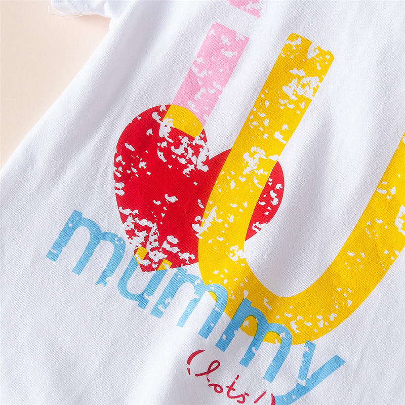 Baby Unisex I Love Mummy Heart Printed Short Sleeve Romper Wholesale Baby Cloths