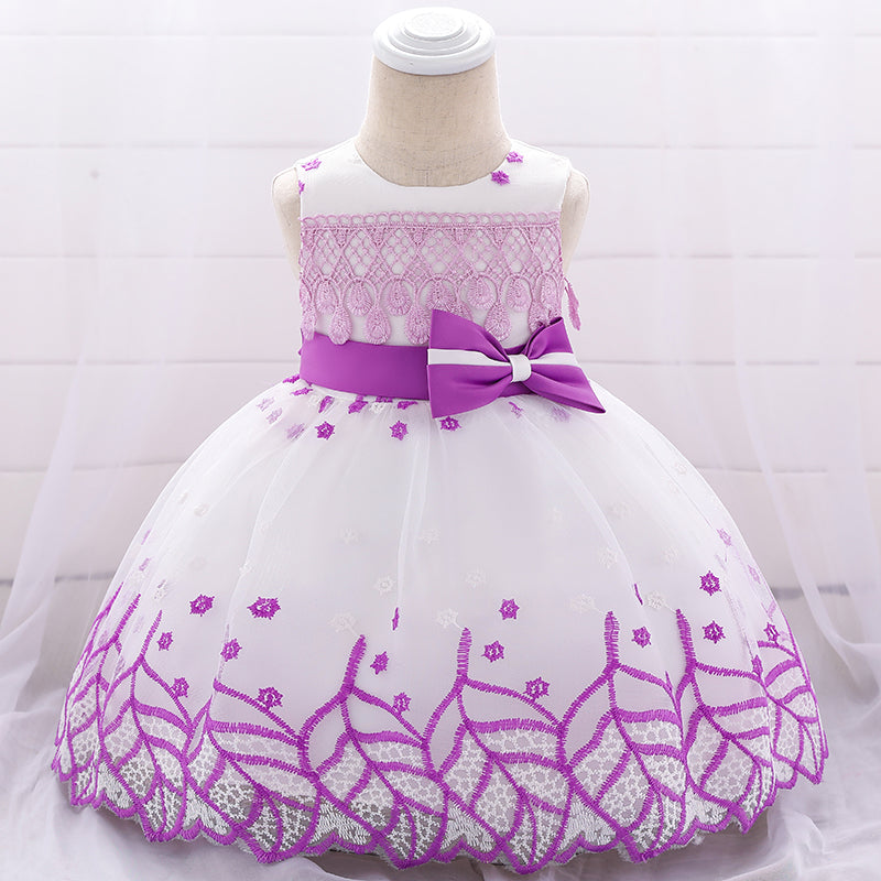 Baby Girl's Mesh Tutu Embroidered Bow Dress
