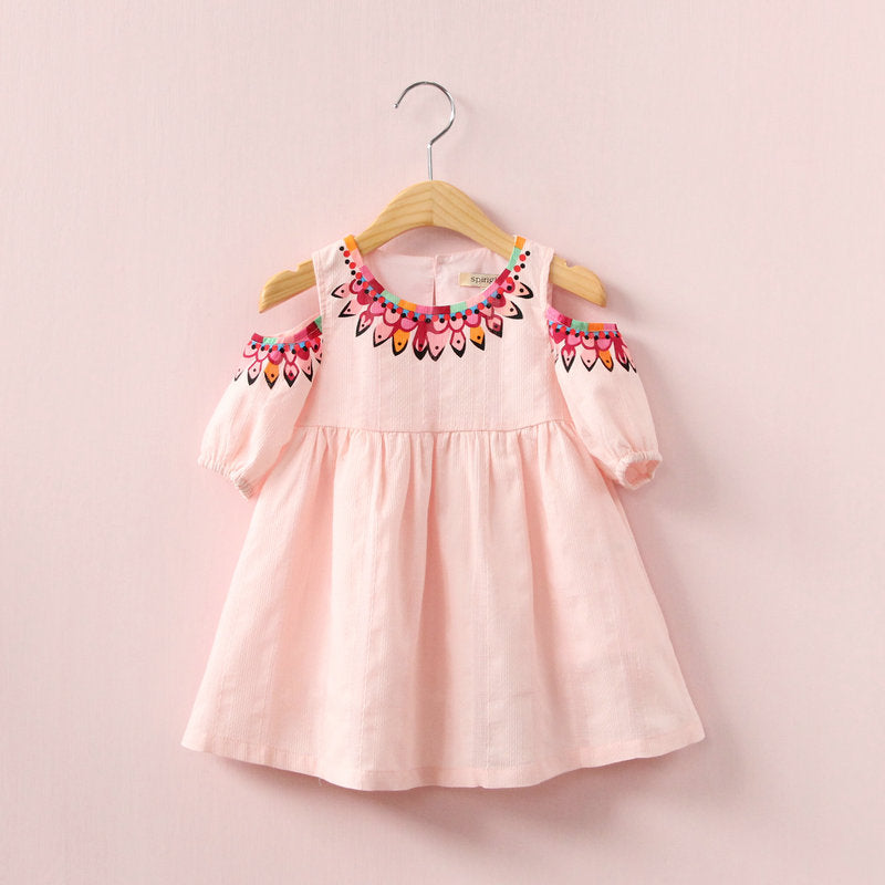 Fashionable Girls Cartoon Dress Off Shoulder Pure Cotton Short Skirt