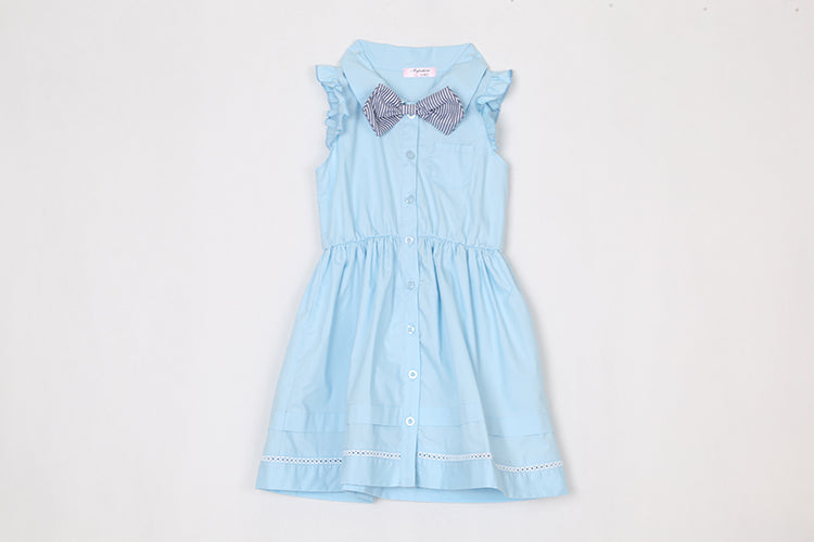 Preppy Style Cotton Dress Bow Flying Sleeves Princess Skirt For Girls