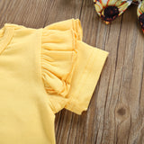 Toddler Girls Short Sleeve T-Shirt Top Sun Flower Strap Skirt