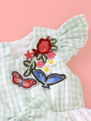 Baby Girls Plaid Floral Dress Butterfly Flower Embroidery Skirt