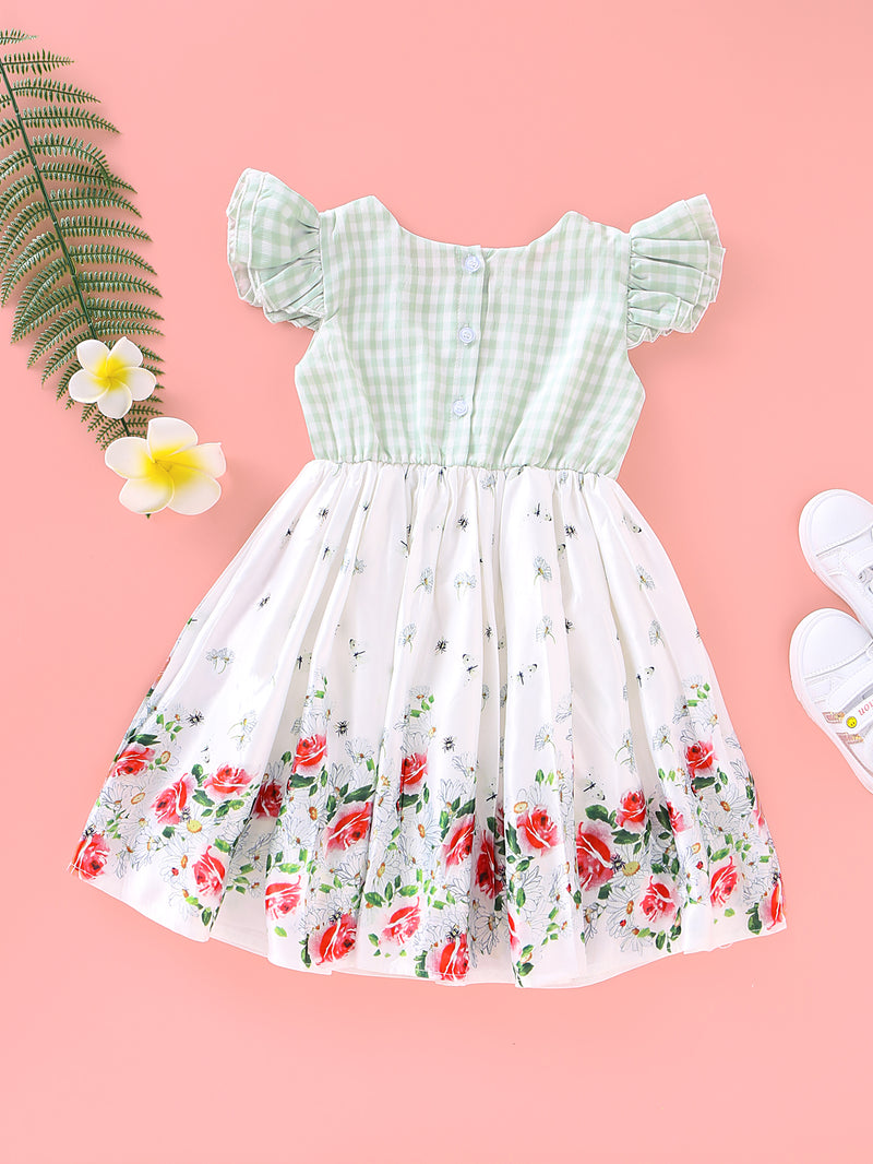 Baby Girls Plaid Floral Butterfly Embroidery Dress