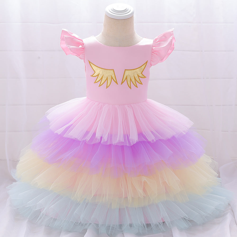 Girl Dress Flying Sleeve Unicorn Dress Coloring Cake Dress Tutu Dress