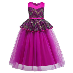 Girls' Evening Dresses Floor Long Dresses Color Sequined Dresses