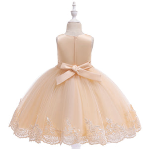 Girls Evening Dress Sleeveless Beaded Applique Princess Dress