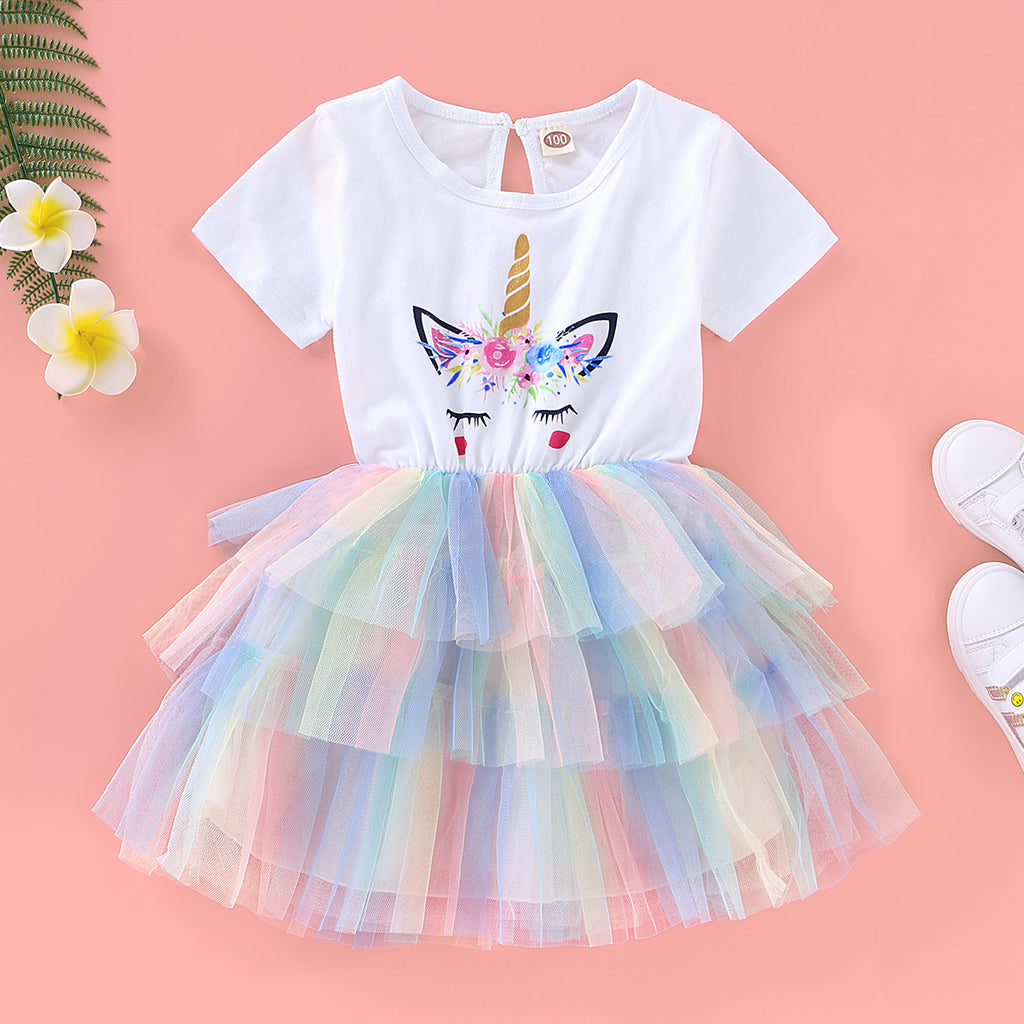 Baby Girl's Short Sleeve Unicorn Rainbow Dress Princess Mesh Dress