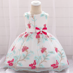 Toddler Girl Dress Flower Embroidery Dress Princess Dress