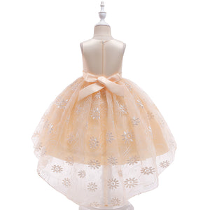 Girls Party Dress Lace Tail Evening Dress Girls Catwalk Dresses