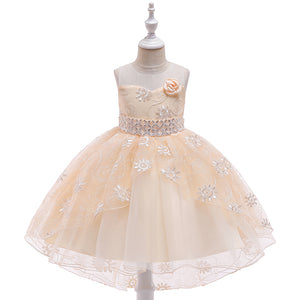 Girl Wedding Dress Sequins Embroidered Tail Princess Skirt