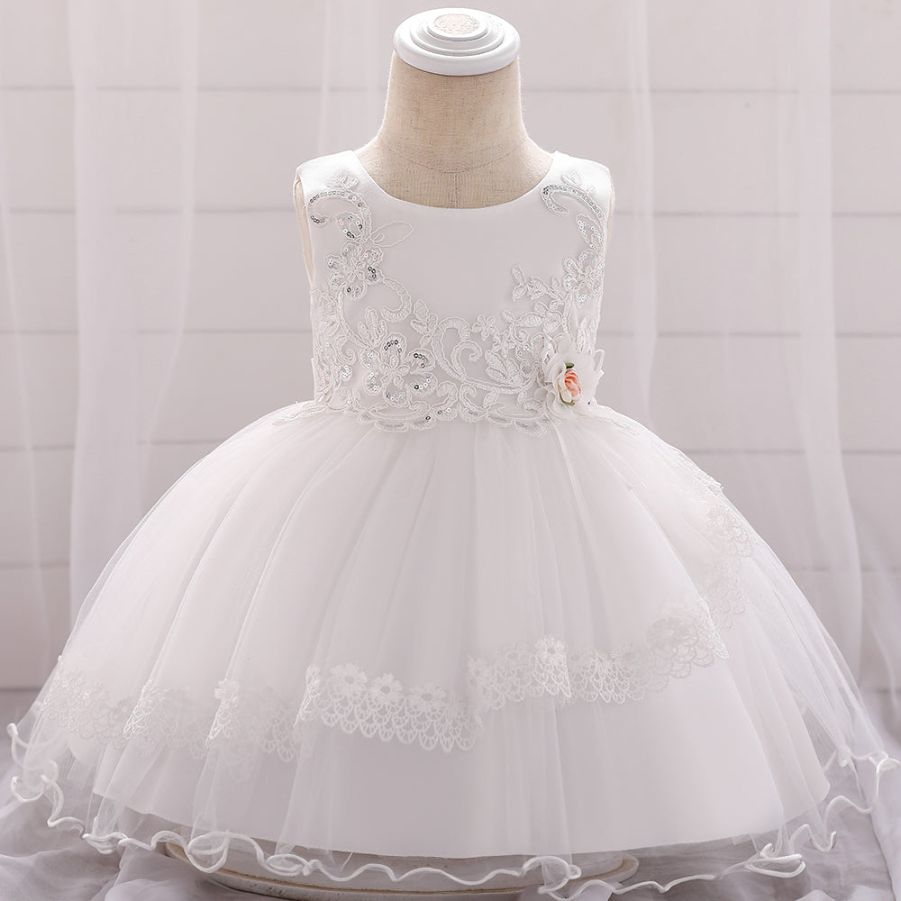 Baby Girls Sequined Flower Embroidered Princess Dress