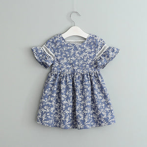 Toddler Girls Print Floral Skirt Back Lace Hollow Out Dress