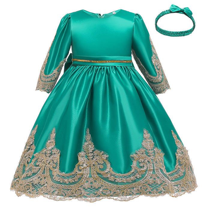 Girls Prom Dress Princess Skirt Half Sleeve Lace Dress & Headdress