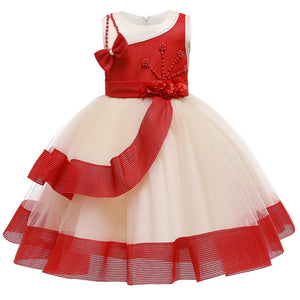 Girls Prom Dress Layered Princess Dress Beaded Flowers Mesh Tutu Dress