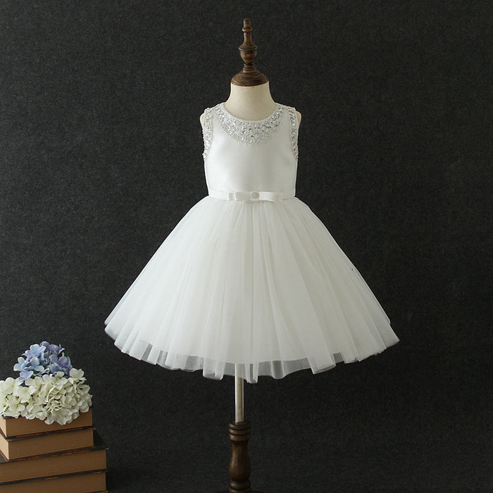 Girls Party Dress Beaded Princess Dress Mesh Tutu Flower Girl Dress