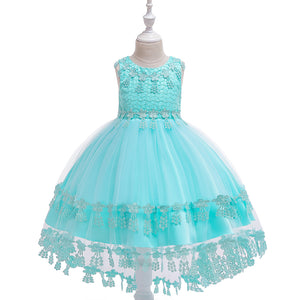 Girl Dress Lace Tail Dress Solid Color Princess Skirt
