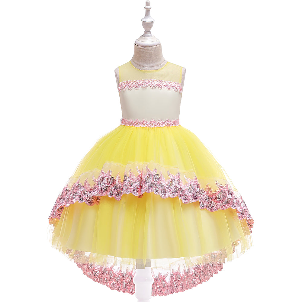 Girl Prom Dress Mesh Princess Tutu Skirt Girl Evening Dress