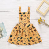 Toddler Girl Cartoon Dinosaur Sleeveless Girl Strap Skirt