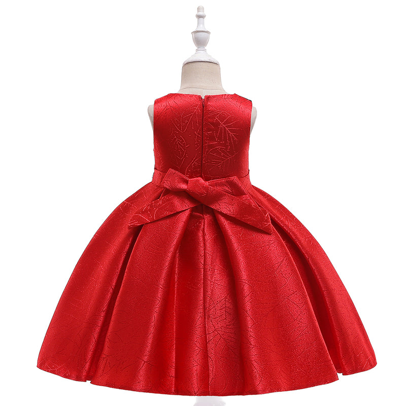Girl Satin Doll Collar Princess Prom Evening Dress