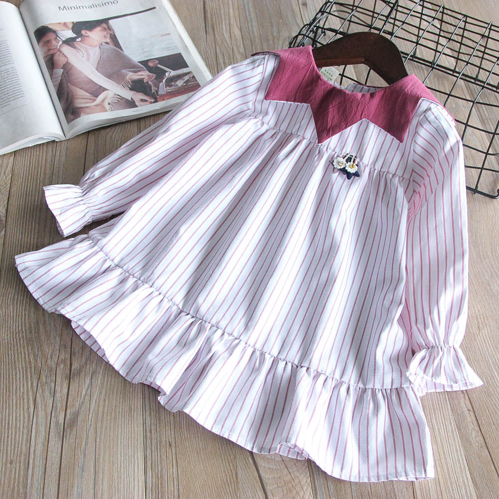 Fashionable Girls Doll Collar Striped Dress Pleated Princess Dress