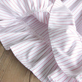 Fashionable Girls Doll Collar Striped Pleated Princess Dress