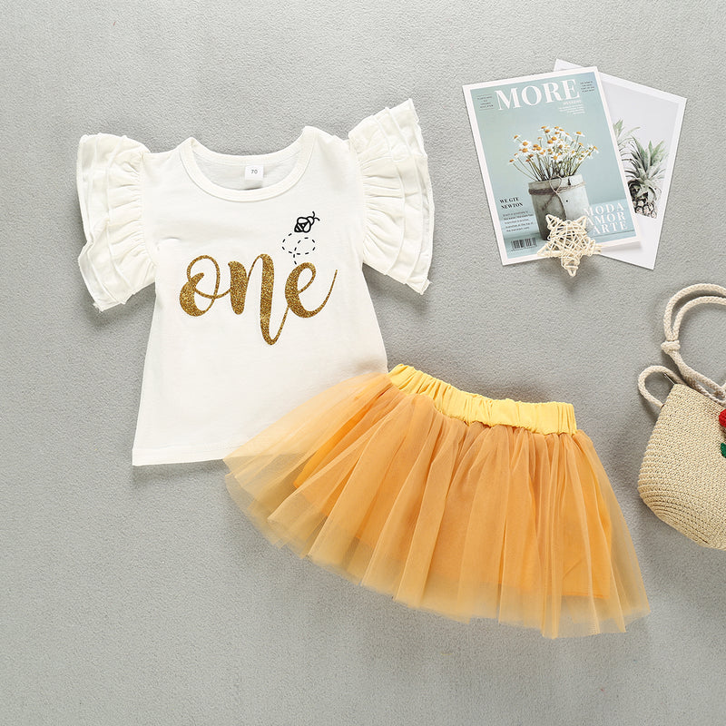 Toddler Girls Letter Print Top Mesh Princess Dress