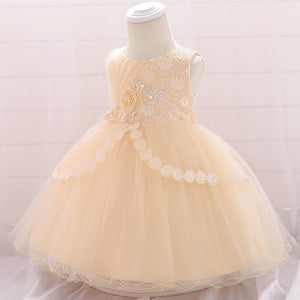 Baby Girl Embroidered Mesh Tutu Flower Princess Dress