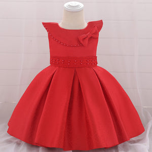 Baby Girl Dress Satin Beaded Bow Skirt Tutu Princess Dress