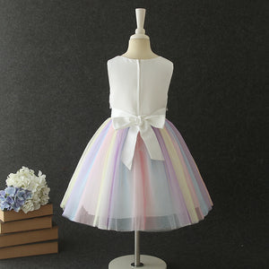 Girls' Party Dresses Rainbow Mesh Princess Dresses Girls Prom Dresses